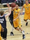 MSUB's Kalob Hatcher, 1, passes the ball