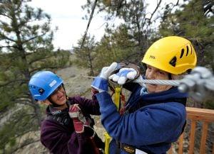WHOOOOSH: Elderly mom gets 1st crack at zip line course east of Billings