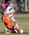 Rocky's Brandon Loeffler, 15, and Jamestown's Ross Pereberg, 8, battle for the ball