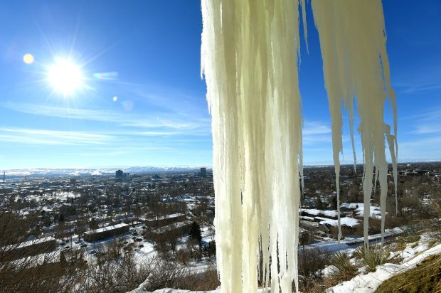 Cold spell leaves Billings' Rimrocks covered in ice