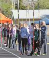 Pole vaulters wait their turn