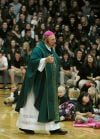 Bishop Michael Warfel addresses students