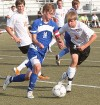 Senior's Clay Callihan, 3, and Skyview's Treve Icenoggle, 14, battle for the ball