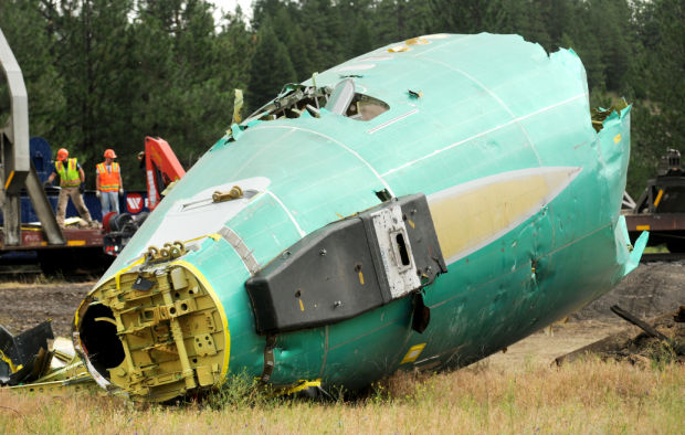Crews dismantling Boeing fuselages pulled from Clark Fork