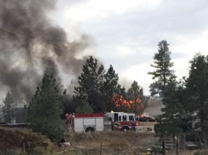 Fire crews respond to shed fire on Alkali Creek Road