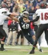 Caleb Schreibeis of Montana State rushes the quarterback