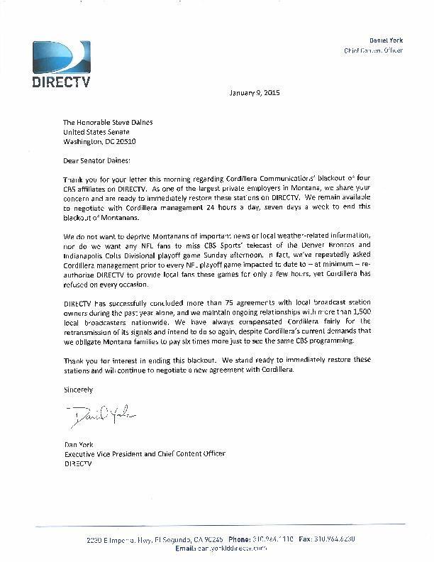directv letter to sen  steve daines
