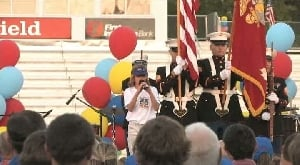 10-year-old sings national anthem at State Games