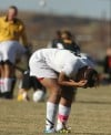 Rachel Koehler of Billings Senior reacts after West's Marta Prosinski scored