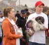 Tina and Drew Lorenz and their dog Sammie chat with participants at Cassie's Cause Run