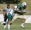 Cole Cattelan of Rocky Mountain College is wrapped up
