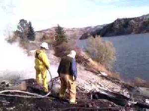Holter Lake house destroyed by fire, man burned