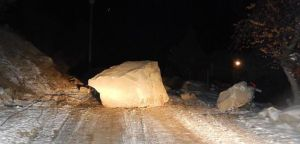 Rockslide damages power poles Wednesday night