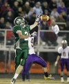 A pass intended for Billings Central receiver Jacob Stanton is broken up by Laurel's C.J. Edgmond