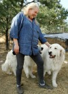 Christiane Sikora and her Pyrenees