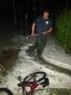Shoveling hail