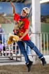 Lane Garrison rides a stick bull