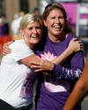 Tina Heikens, left, hugs her mom, Martha Bouchard,