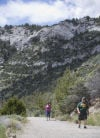 Tourists hike at Lewis and Clark Caverns State Park