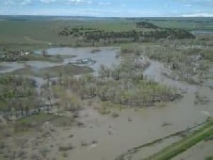 Musselshell River flooding viewed from the air