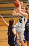 West's Mika Robinson, 42, puts up a shot
