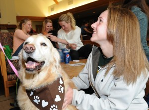 Dogs help Rocky Mountain College students chill out during finals week