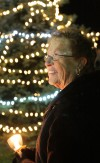 Sharon Vogal lights the Hospice Tree of Lights