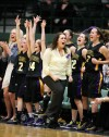 Laurel head coach Amber Griffith and the bench celebrate