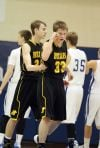 Jared Samuelson reacts after scoring while being fouled