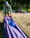 Al Kesselheim prepares his canoe
