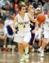 Allie Lucas of Central pushes the ball up the floor