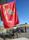 A Marine flag flies at the Howling Wolf Ranch