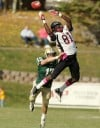 A pass intended for Montana Western receiver Rashad Peniston