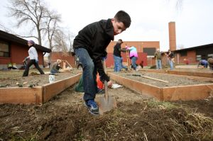 Saturday efforts double community garden space at Lockwood School