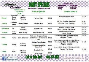 Daily Specials October 13-19