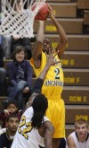 Mario Gill from the University of Alaska Anchorage hits a three-pointer