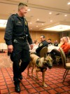 Jim Nyquist shows off his K9 police dog, Recon