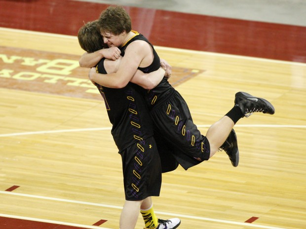 Bryce Herman and Shawn Nardella of Laurel celebrate