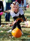 Leah Worthington bowls a pumpkin