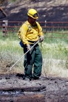A fire crew from Great Falls mops up