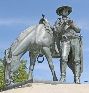 Statue of cowboy and horse a reminder of Western past
