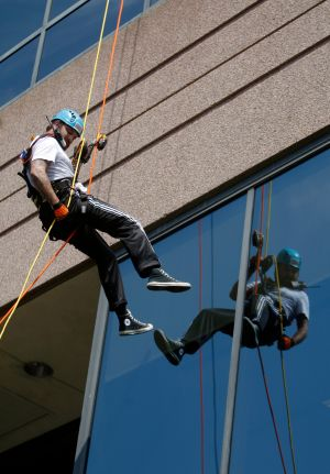 Rappellers getting ready to go Over the Edge
