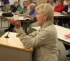 Nancy Boyer speaks in favor of extending Superintendent Beeman's contract