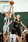 Billings Central's Jacob Hadley and Laurel's Forrest Crowl battl