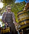 Thorsten Geuer taps the ceremonial wooden keg