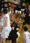Chase Boyd of Billings Senior attempts a shot
