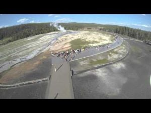 Phantom over old faithful in Yellowstone