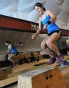 "Casey Elder does box jumps as she does her ""Warrior Workout"""