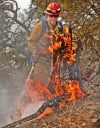 A firefighter battles the Pleasant Hollow Trail fire