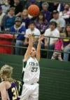 Taylor Hanser of Central hits a three-pointer